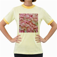 Romantic Pink Rose Petals Floral  Women s Fitted Ringer T Shirts