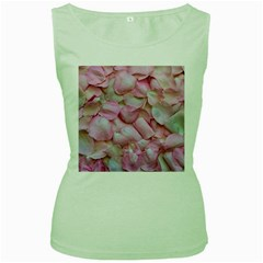 Romantic Pink Rose Petals Floral  Women s Green Tank Top