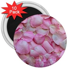 Romantic Pink Rose Petals Floral  3  Magnets (10 Pack)