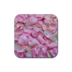 Romantic Pink Rose Petals Floral  Rubber Coaster (square)