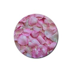 Romantic Pink Rose Petals Floral  Rubber Coaster (round)