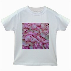Romantic Pink Rose Petals Floral  Kids White T Shirts