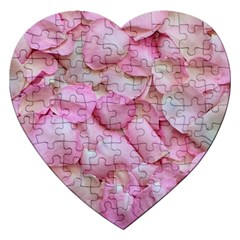 Romantic Pink Rose Petals Floral  Jigsaw Puzzle (heart)