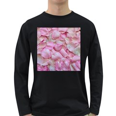 Romantic Pink Rose Petals Floral  Long Sleeve Dark T Shirts