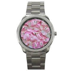 Romantic Pink Rose Petals Floral  Sport Metal Watch