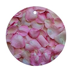 Romantic Pink Rose Petals Floral  Round Ornament (two Sides)