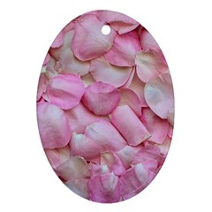 Romantic Pink Rose Petals Floral  Oval Ornament (two Sides)