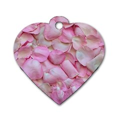 Romantic Pink Rose Petals Floral  Dog Tag Heart (one Side)