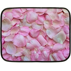Romantic Pink Rose Petals Floral  Double Sided Fleece Blanket (mini)