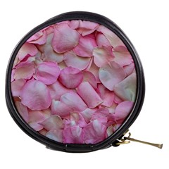 Romantic Pink Rose Petals Floral  Mini Makeup Bags