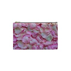 Romantic Pink Rose Petals Floral  Cosmetic Bag (small)
