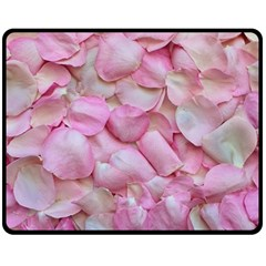 Romantic Pink Rose Petals Floral  Fleece Blanket (medium)  by yoursparklingshop