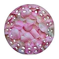 Romantic Pink Rose Petals Floral  Round Filigree Ornament (two Sides)