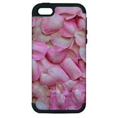 Romantic Pink Rose Petals Floral  Apple Iphone 5 Hardshell Case (pc+silicone)