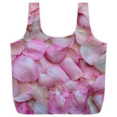 Romantic Pink Rose Petals Floral  Full Print Recycle Bags (l)