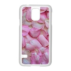 Romantic Pink Rose Petals Floral  Samsung Galaxy S5 Case (white)