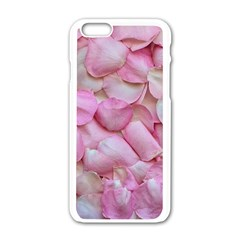 Romantic Pink Rose Petals Floral  Apple Iphone 6/6s White Enamel Case by yoursparklingshop