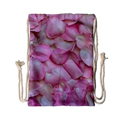 Romantic Pink Rose Petals Floral  Drawstring Bag (small)