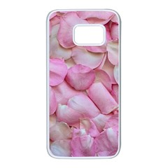Romantic Pink Rose Petals Floral  Samsung Galaxy S7 White Seamless Case by yoursparklingshop