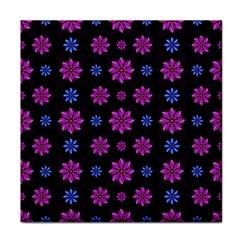 Stylized Dark Floral Pattern Tile Coasters