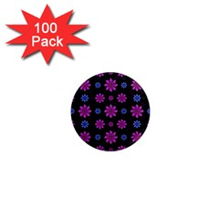 Stylized Dark Floral Pattern 1  Mini Magnets (100 Pack)