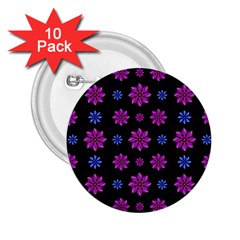 Stylized Dark Floral Pattern 2 25  Buttons (10 Pack)