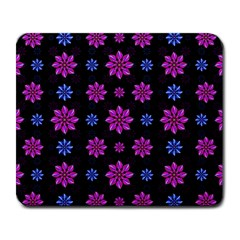 Stylized Dark Floral Pattern Large Mousepads