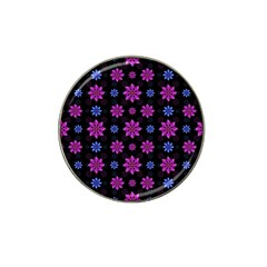 Stylized Dark Floral Pattern Hat Clip Ball Marker (4 Pack)