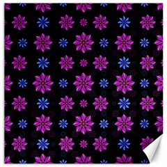 Stylized Dark Floral Pattern Canvas 16  X 16