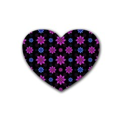 Stylized Dark Floral Pattern Rubber Coaster (heart)