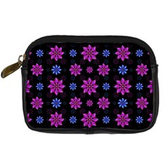 Stylized Dark Floral Pattern Digital Camera Cases