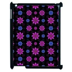 Stylized Dark Floral Pattern Apple Ipad 2 Case (black)