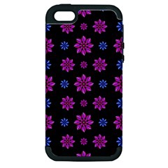 Stylized Dark Floral Pattern Apple Iphone 5 Hardshell Case (pc+silicone)
