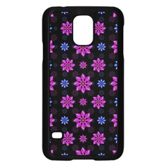 Stylized Dark Floral Pattern Samsung Galaxy S5 Case (black)