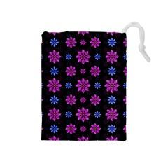 Stylized Dark Floral Pattern Drawstring Pouches (medium)