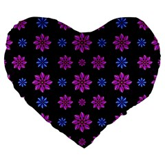 Stylized Dark Floral Pattern Large 19  Premium Flano Heart Shape Cushions by dflcprints