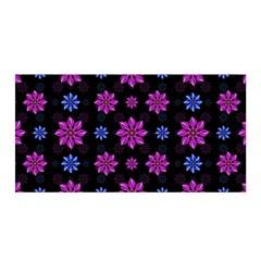 Stylized Dark Floral Pattern Satin Wrap