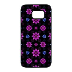 Stylized Dark Floral Pattern Samsung Galaxy S7 Edge Black Seamless Case