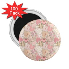 Cute Romantic Hearts Pattern 2 25  Magnets (100 Pack)