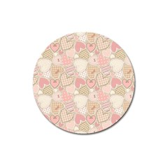 Cute Romantic Hearts Pattern Magnet 3  (round)