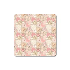 Cute Romantic Hearts Pattern Square Magnet