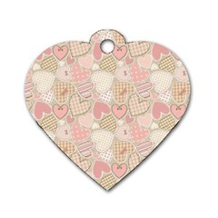 Cute Romantic Hearts Pattern Dog Tag Heart (two Sides) by yoursparklingshop