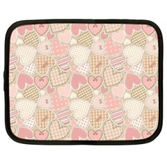 Cute Romantic Hearts Pattern Netbook Case (xl)  by yoursparklingshop
