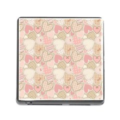 Cute Romantic Hearts Pattern Memory Card Reader (square) by yoursparklingshop
