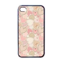 Cute Romantic Hearts Pattern Apple Iphone 4 Case (black)