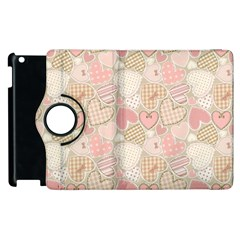 Cute Romantic Hearts Pattern Apple Ipad 2 Flip 360 Case