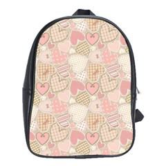 Cute Romantic Hearts Pattern School Bag (xl)