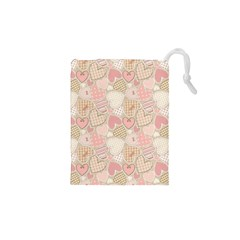 Cute Romantic Hearts Pattern Drawstring Pouches (xs)
