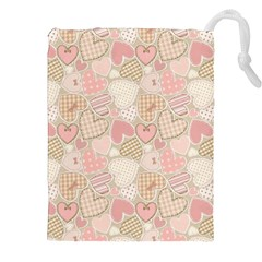 Cute Romantic Hearts Pattern Drawstring Pouches (xxl)