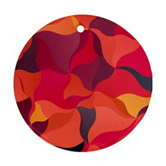 Red Orange Yellow Pink Art Round Ornament (two Sides) by yoursparklingshop